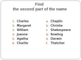 Find the second part of the name Charles Margaret William Joanne Agatha Charl
