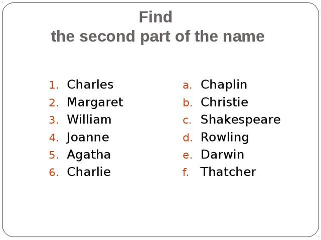 Find the second part of the name Charles Margaret William Joanne Agatha Charl...