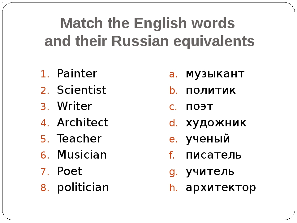 Match the English words and their Russian equivalents Painter Scientist Write...