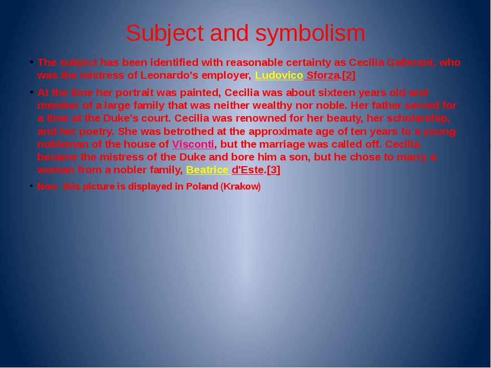 Subject and symbolism The subject has been identified with reasonable certain...