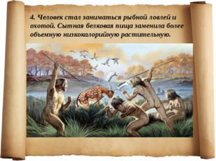 4. Человек стал заниматься рыбной ловлей и охотой. Сытная белковая пища замен