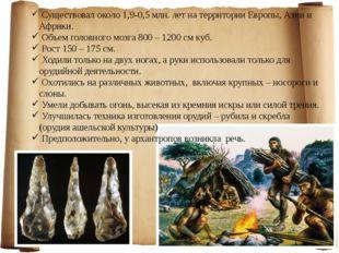 Существовал около 1,9-0,5 млн. лет на территории Европы, Азии и Африки. Объе