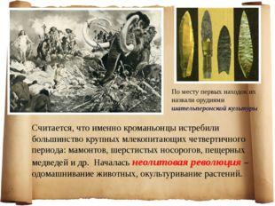 По месту первых находок их назвали орудиями шательперонской культуры Считаетс