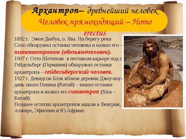 Архантроп– древнейший человек Человек прямоходящий – Homo erectus 1892 г. Эже...