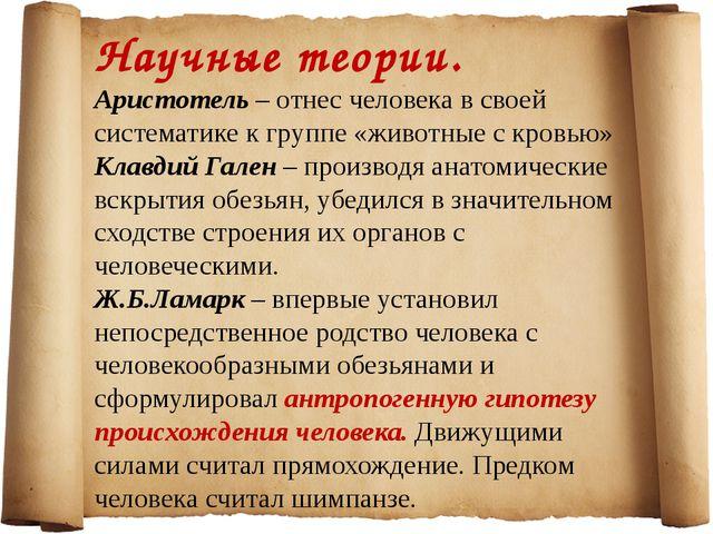Научные теории. Аристотель – отнес человека в своей систематике к группе «жив...
