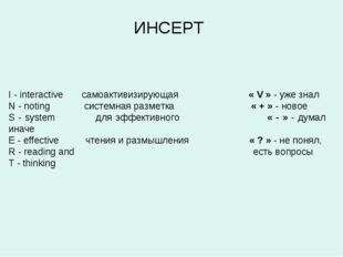 ИНСЕРТ I - interactive самоактивизирующая  « V » - уже знал N - noting сист