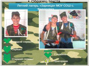 Летний лагерь «Зарница» МОУ СОШ с. Федоровка Младший сержант Сержант Старший