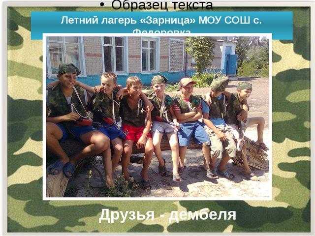Летний лагерь «Зарница» МОУ СОШ с. Федоровка Друзья - дембеля