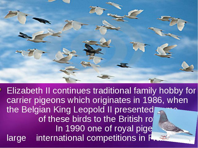 Elizabeth II continues traditional family hobby for carrier pigeons which ori...
