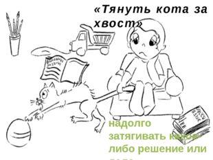 «Тянуть кота за хвост» надолго затягивать какое-либо решение или дело