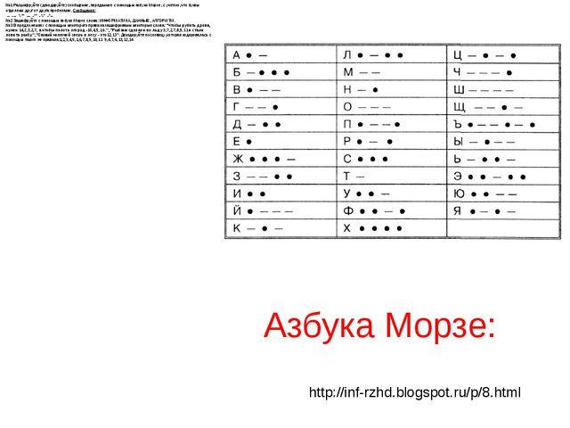 №1Расшифруйте (декодируйте) сообщение, переданное с помощью азбуки Морзе, с...