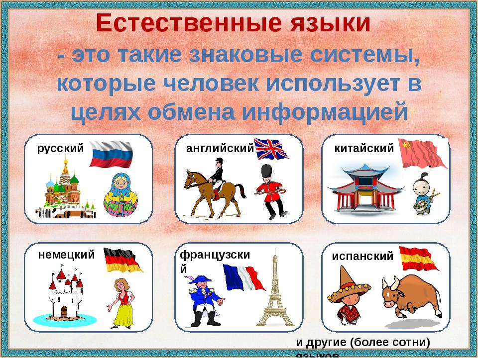 Естественные языки - это такие знаковые системы, которые человек использует в...