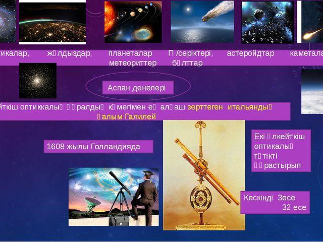 Аспан денелері Галактикалар, жұлдыздар, планеталар П /серіктері, астеройдтар...