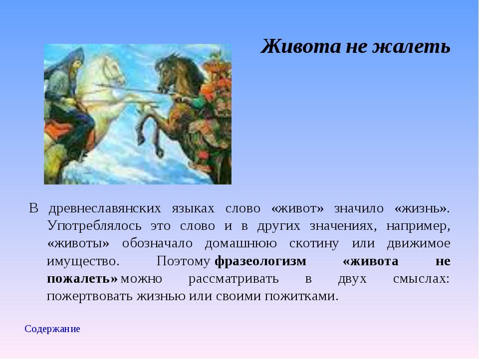 Живота не жалеть В древнеславянских языках слово «живот» значило «жизнь». Упо...