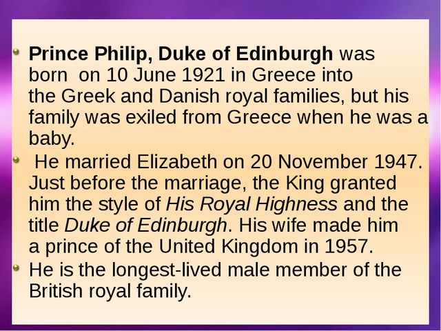 Elizabeth II , the Queen of the United Kingdom Prince Philip, the queen's h...