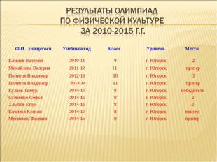 Ф.И. учащегося Учебный год Класс Уровень Место Климов Валерий2010-119