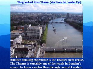 The grand old River Thames (view from the London Eye) Another amazing experie