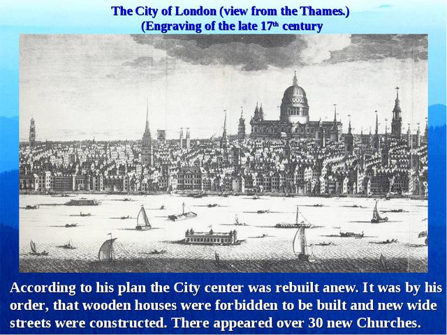 The City of London (view from the Thames.) (Engraving of the late 17th centur...