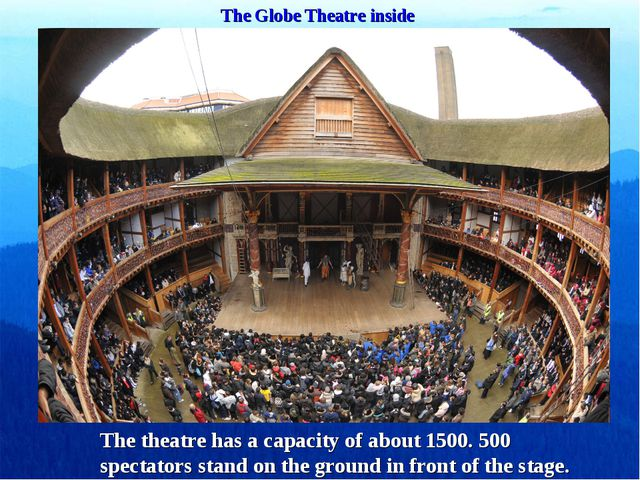 The Globe Theatre inside The theatre has a capacity of about 1500. 500 spect...