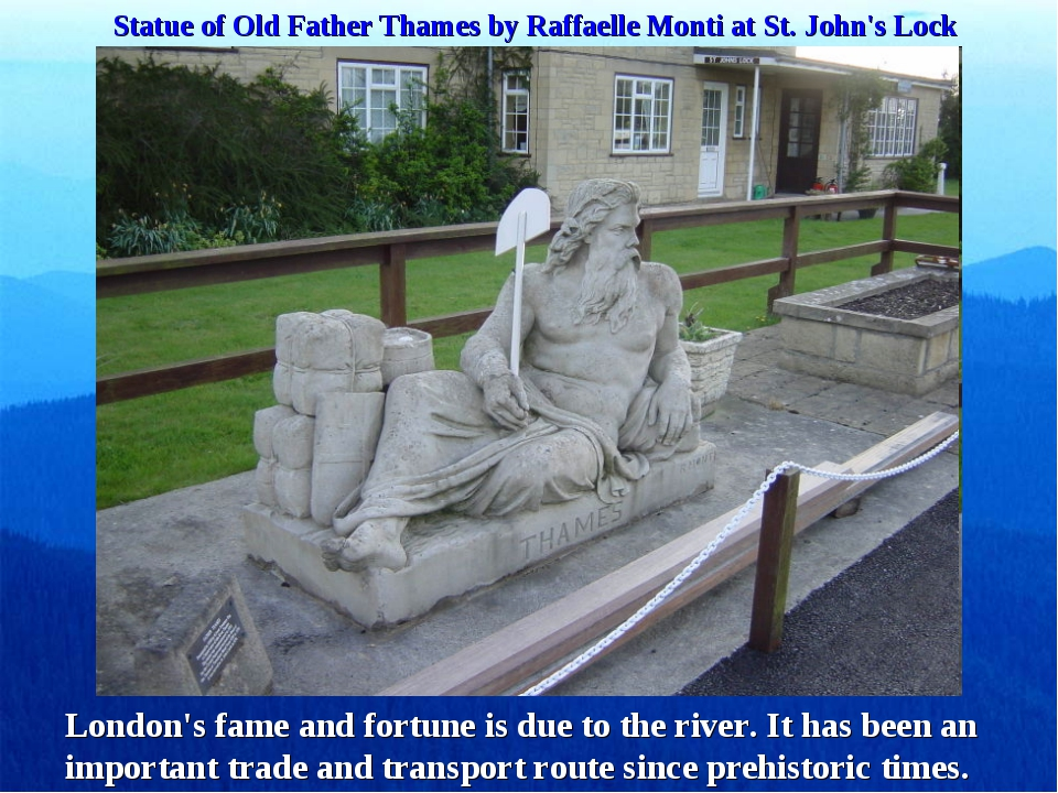 Statue of Old Father Thames by Raffaelle Monti at St. John's Lock London's fa...