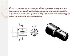 Если секущая плоскость проходит через ось поверхности вращения (цилиндрическо