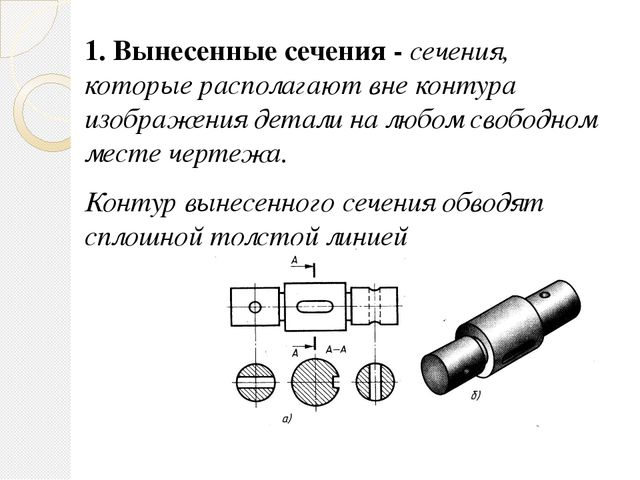 1. Вынесенные сечения - сечения, которые располагают вне контура изображения...