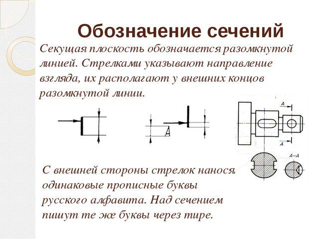 Обозначение сечений Секущая плоскость обозначается разомкнутой линией. Стрелк...