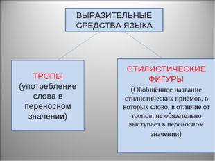 ВЫРАЗИТЕЛЬНЫЕ СРЕДСТВА ЯЗЫКА ТРОПЫ (употребление слова в переносном значении)