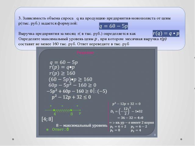 © Рыжова С.А.  3. Зависимость объема спроса q на продукцию предприятия-моноп...