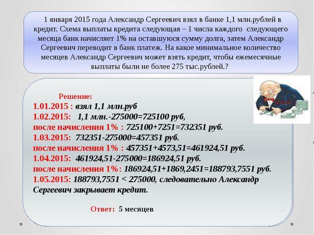 1 января 2015 года Александр Сергеевич взял в банке 1,1 млн.рублей в кредит....