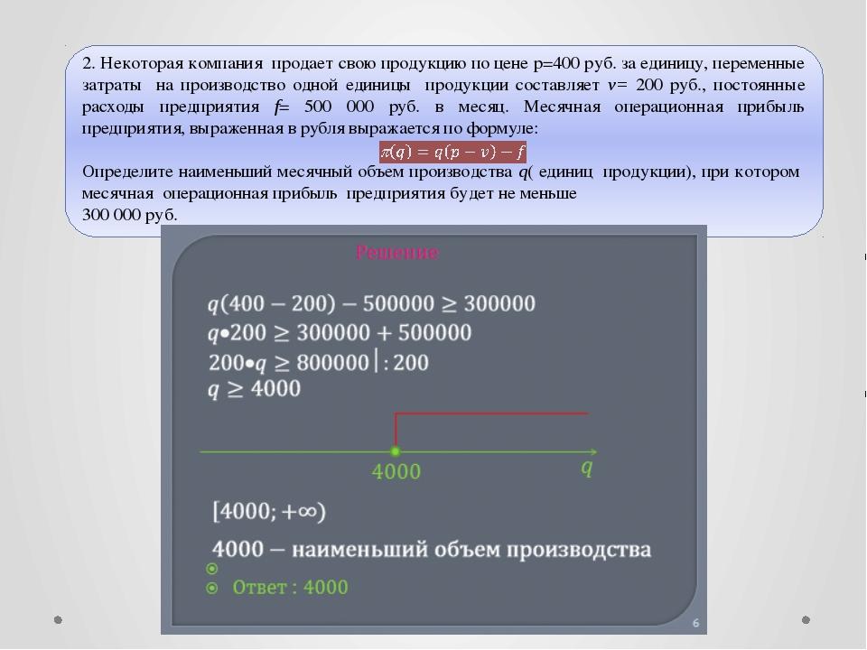 © Рыжова С.А.  2. Некоторая компания продает свою продукцию по цене р=400 ру...