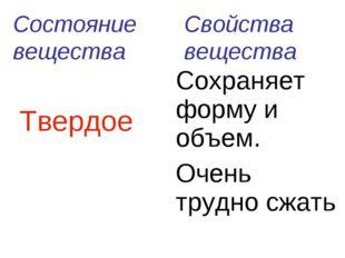 Состояние вещества Свойства вещества  ТвердоеСохраняет форму и объем. Очень