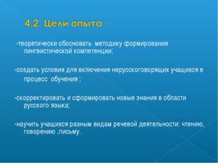 -теоретически обосновать методику формирования лингвистической компетенции;