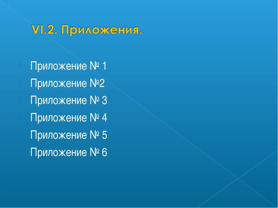 Приложение № 1 Приложение №2 Приложение № 3 Приложение № 4 Приложение № 5 При...