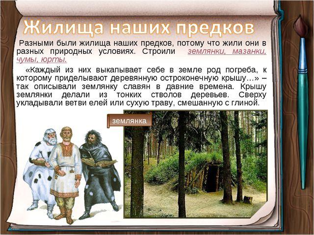 Разными были жилища наших предков, потому что жили они в разных природных ус...