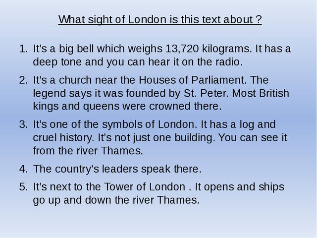 What sight of London is this text about ? It's a big bell which weighs 13,720...