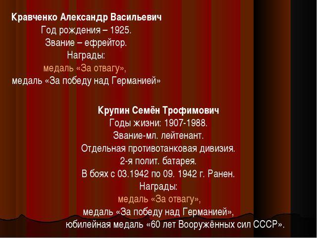 Кравченко Александр Васильевич Год рождения – 1925. Звание – ефрейтор. Наград...