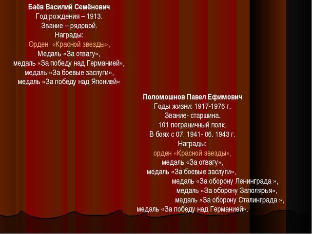 Баёв Василий Семёнович Год рождения – 1913. Звание – рядовой. Награды: Орден...
