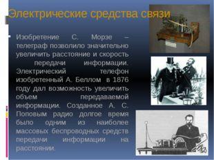 Электрические средства связи Изобретение С. Морзе – телеграф позволило значит