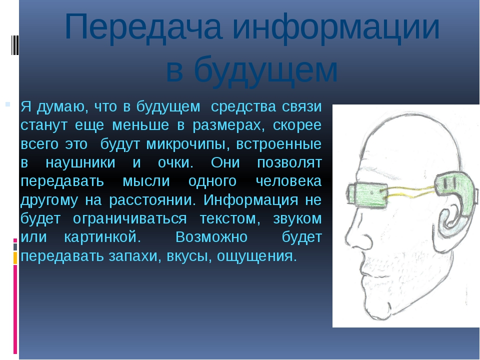 Передача информации в будущем Я думаю, что в будущем средства связи станут ещ...