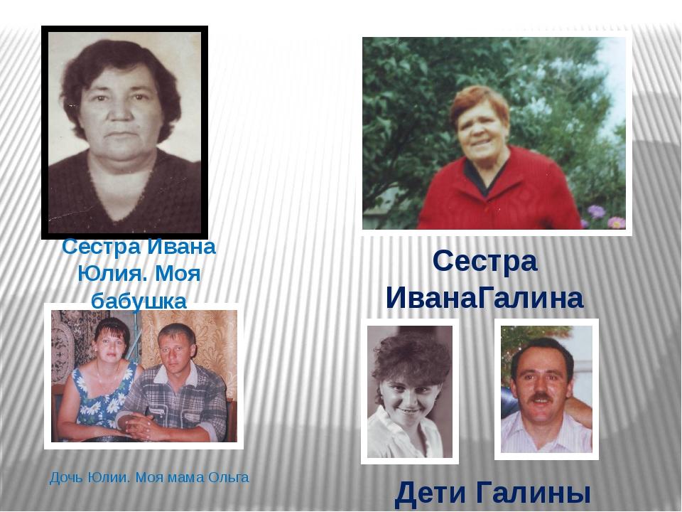 Сестра Ивана Юлия. Моя бабушка Сестра ИванаГалина Дети Галины Дочь Юлии. Моя...